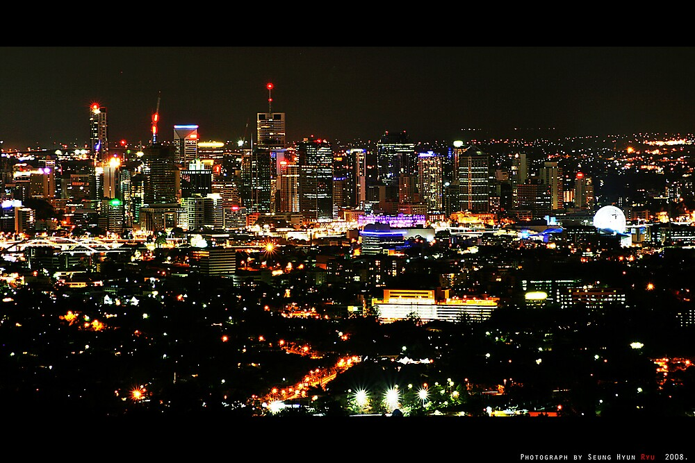 Quot Night View From Mt Coot Tha Brisbane Qld Australia Quot By