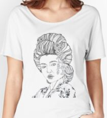 Geometric Black and White Japanese Geisha Women's Relaxed Fit T-Shirt