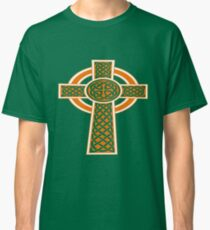 St Patrick's Day Celtic Cross Orange and White Classic T-Shirt