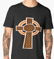 St Patrick's Day Celtic Cross Orange and White Men's Premium T-Shirt