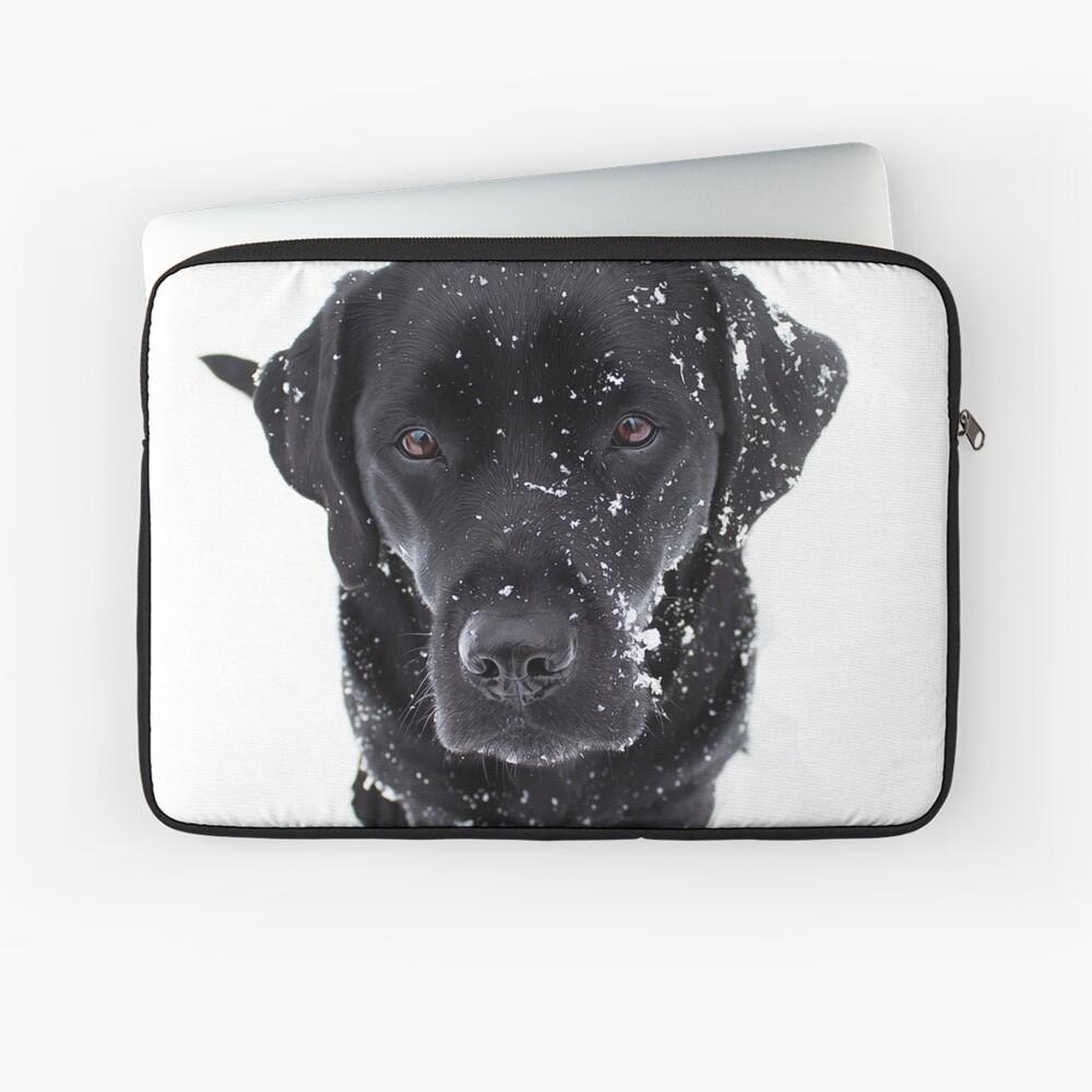 Snow Dog - Black Labrador Laptop Sleeve