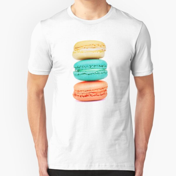 Stack of Macarons - Coral Aqua and Yellow Slim Fit T-Shirt