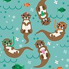 Kawaii Otters Playfully Swimming by latheandquill