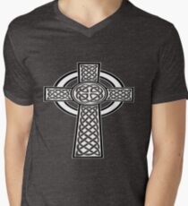 St Patrick's Day Celtic Cross White and Black  Men's V-Neck T-Shirt