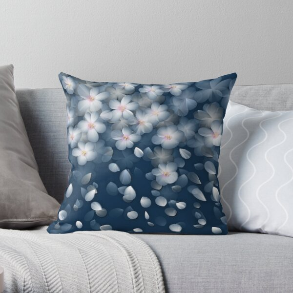 Navy and White Cherry Blossom Design Throw Pillow