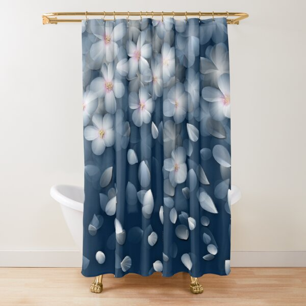 Navy and White Cherry Blossom Design Shower Curtain