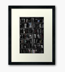 Black and White Book Shelves Framed Print