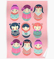 Babushka Russian doll pattern Poster
