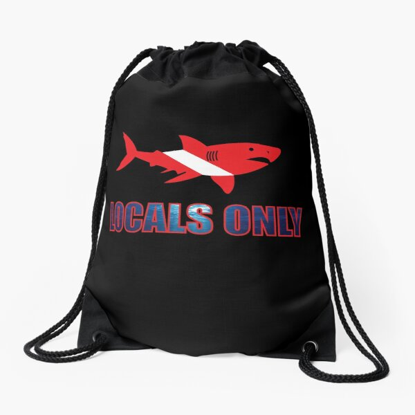 Great White Scuba Shark- Locals Only Drawstring Bag