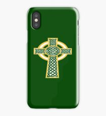 St Patrick's Day Celtic Cross White And Orange iPhone Case