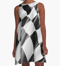 Checkered Flag, Cloth, WIN, WINNER, Chequered Flag, Motor Sport, Racing Cars, Race, Finish line A-Line Dress