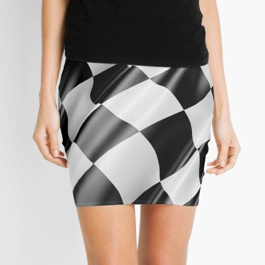 Checkered Flag. Cloth, WIN, WINNER, Chequered Flag, Motor Sport, Racing Cars, Race, Finish line. Mini Skirt