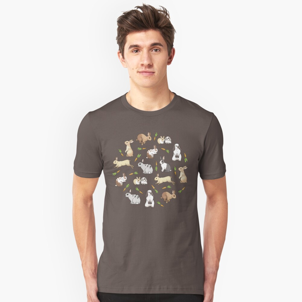 Rabbits - Cute Bunnies and Carrots Unisex T-Shirt Front