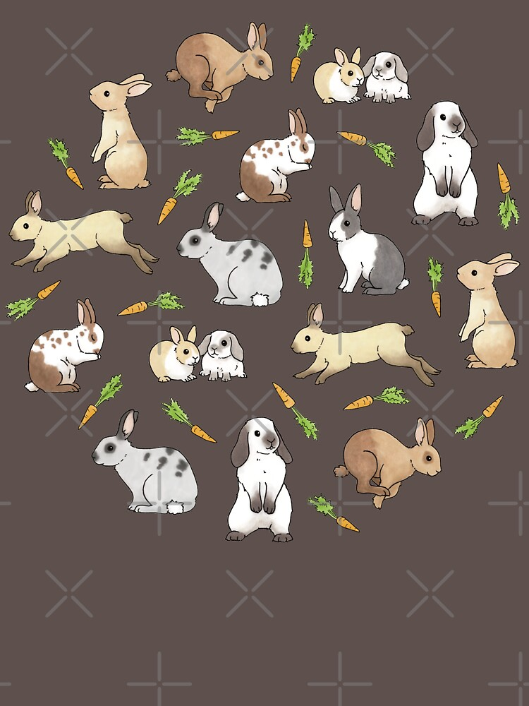 Rabbits - Cute Bunnies and Carrots by HazelFisher