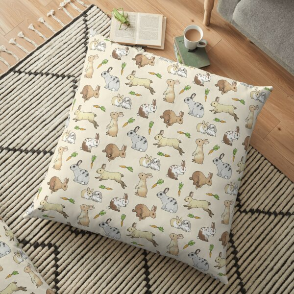 Rabbits - Cute Bunnies and Carrots Floor Pillow