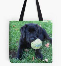 Black Labrador Puppy - Play Ball Tote Bag