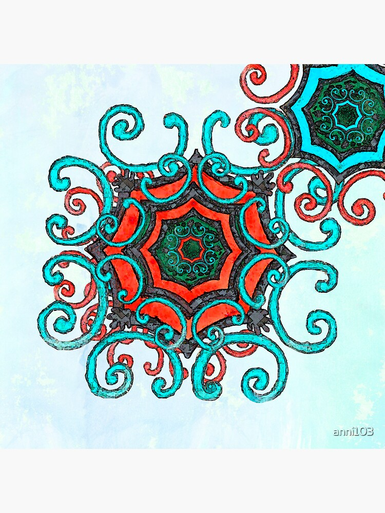 Mandala  Turquoise and red by anni103