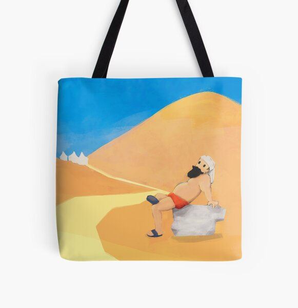 Between the dunes. Bolsa estampada de tela