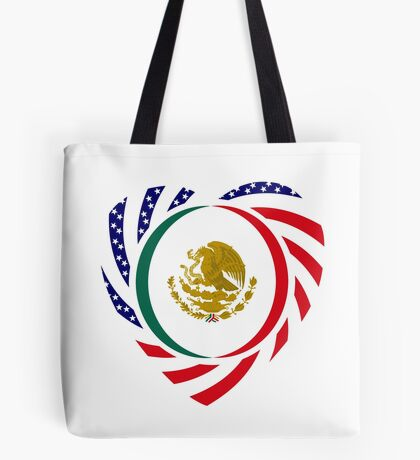 Mexican American Multinational Patriot Flag Series (Heart) Tote Bag