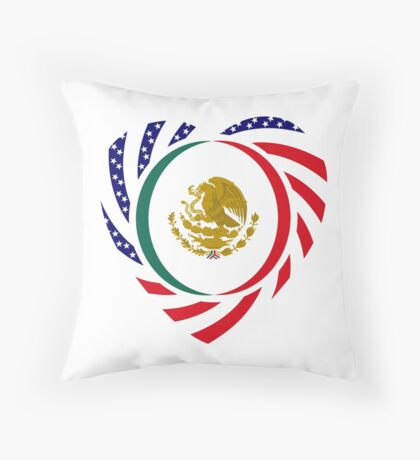 Mexican American Multinational Patriot Flag Series (Heart) Throw Pillow