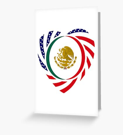 Mexican American Multinational Patriot Flag Series (Heart) Greeting Card