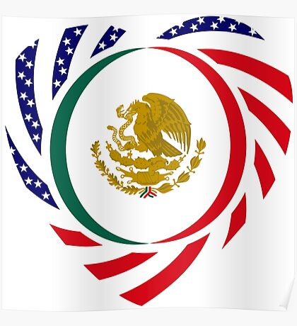 Mexican American Multinational Patriot Flag Series (Heart) Poster