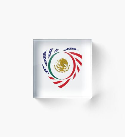 Mexican American Multinational Patriot Flag Series (Heart) Acrylic Block