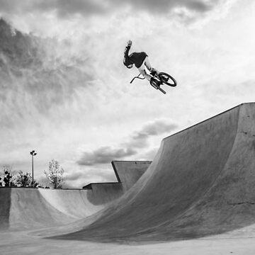 A BMX rider doing a trick on a ramp by clemphoto