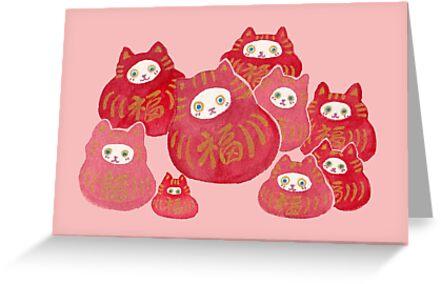 Good Luck Cat Darumas by whya
