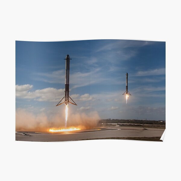 SpaceX Falcon Heavy Boosters Landing (8K resolution) Poster