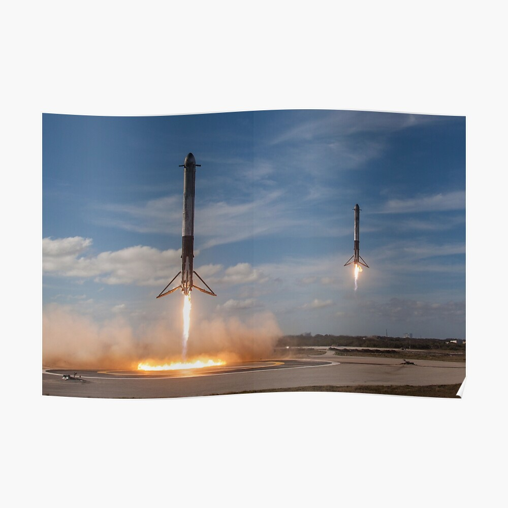SpaceX Falcon Heavy Boosters Landing (resolución 8K) Póster