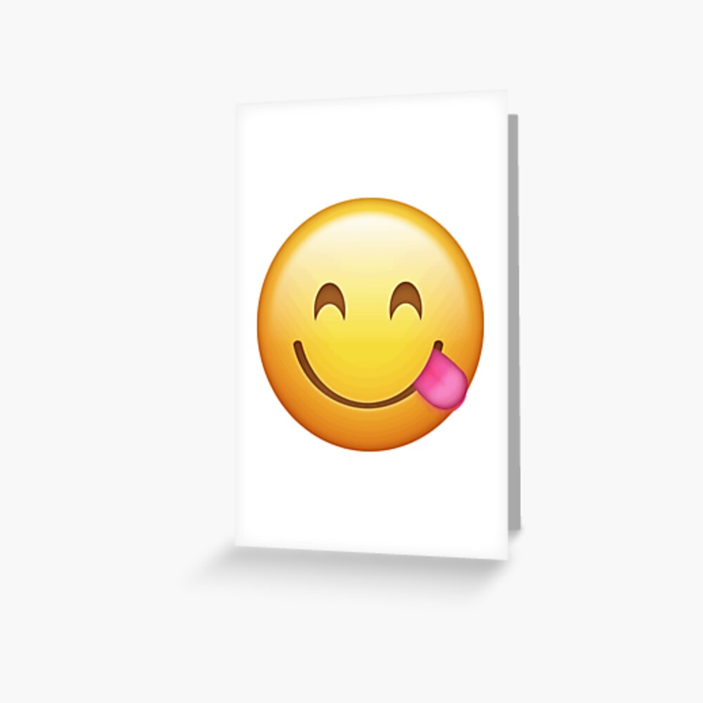 Zunge aus Emoji Grußkarte