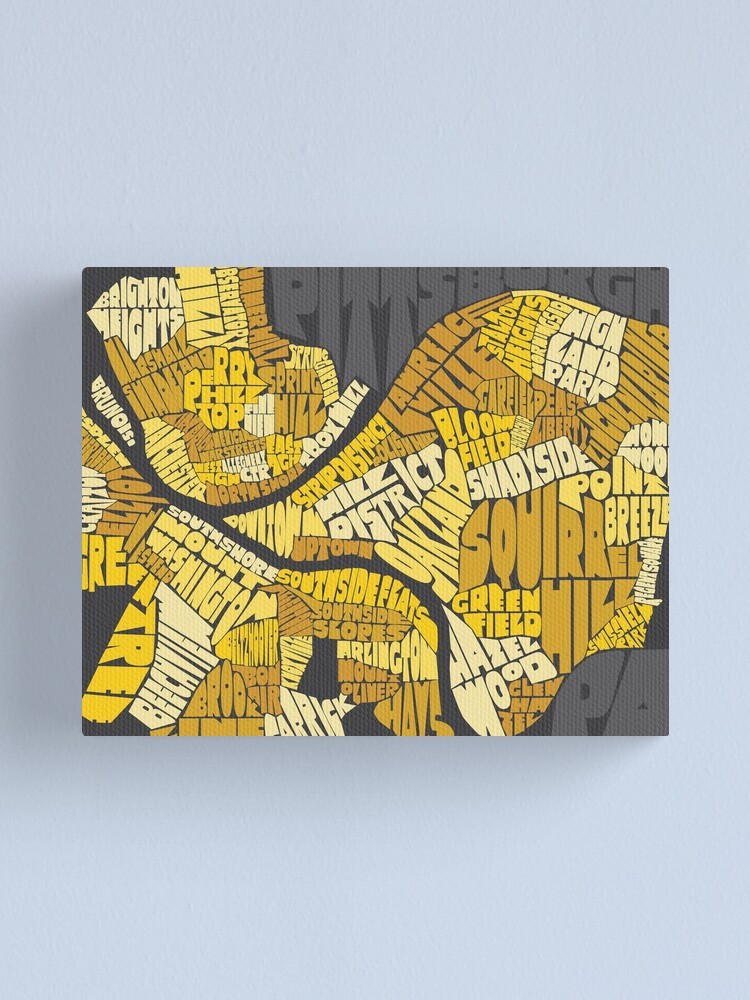 Alternate view of Pittsburgh Neighborhood Map Canvas Print