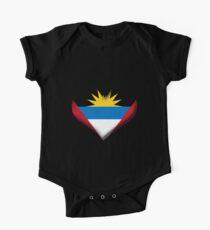 Antigua and Barbuda Heart Flag Short Sleeve Baby One-Piece