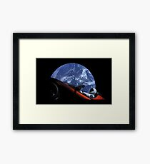 Starman in Tesla Roadster in Space Framed Print