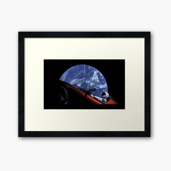 Starman in Tesla Roadster in Space Framed Art Print