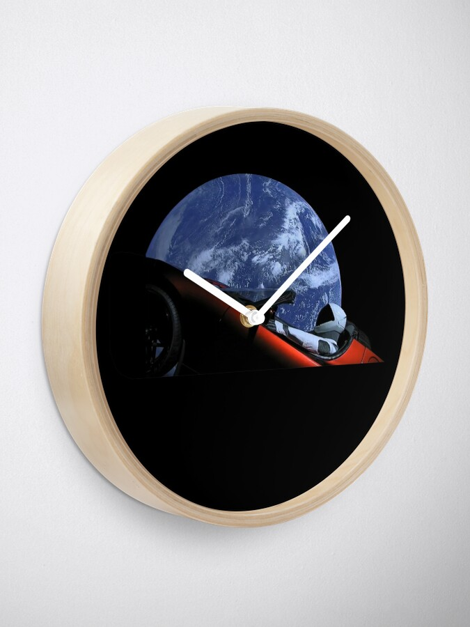 Alternate view of Starman in Tesla Roadster in Space Clock