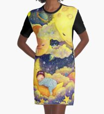 A baby sleeping in the moonlight Graphic T-Shirt Dress