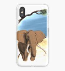 Savage Watercolor Series: Elephant Striding Through the Savannah iPhone Case/Skin