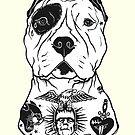 «American Pitbull tatuado» de PaperTigressArt
