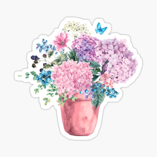 Wastercolor Blooming Hydrangea, hand painted illustration Sticker