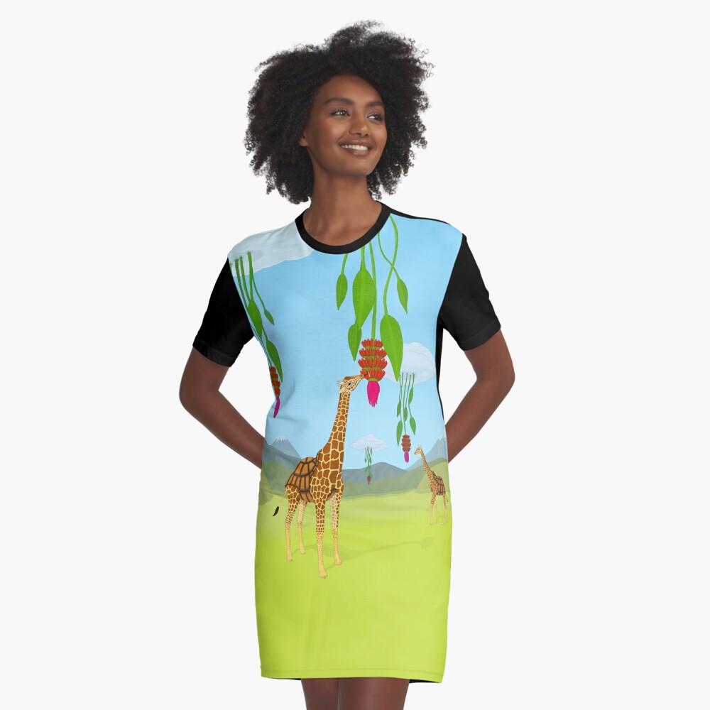 Giraffe, Tortoise? Girtoise! Graphic T-Shirt Dress