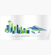 Skyline von Seattle | Poly Poster