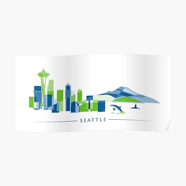 Seattle Skyline   Poly Poster