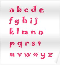 Alphabet red letters Poster