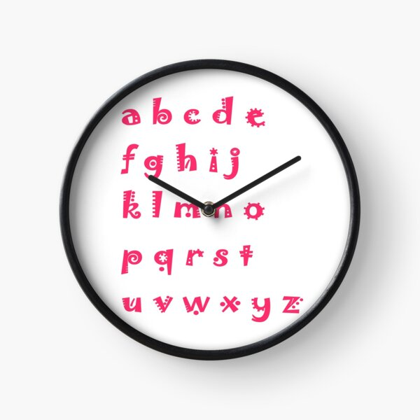 Alphabet red letters Clock