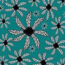 Teal spiral wind catcher pattern by HEVIFineart