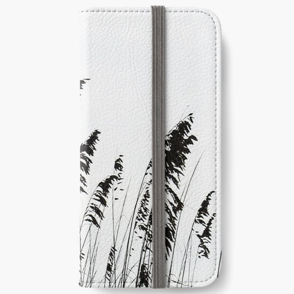 Beach reeds black and white iPhone Wallet