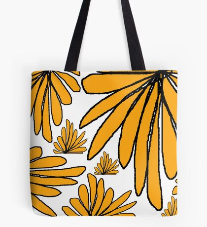 Yellow gold fern floral abstract Tote Bag