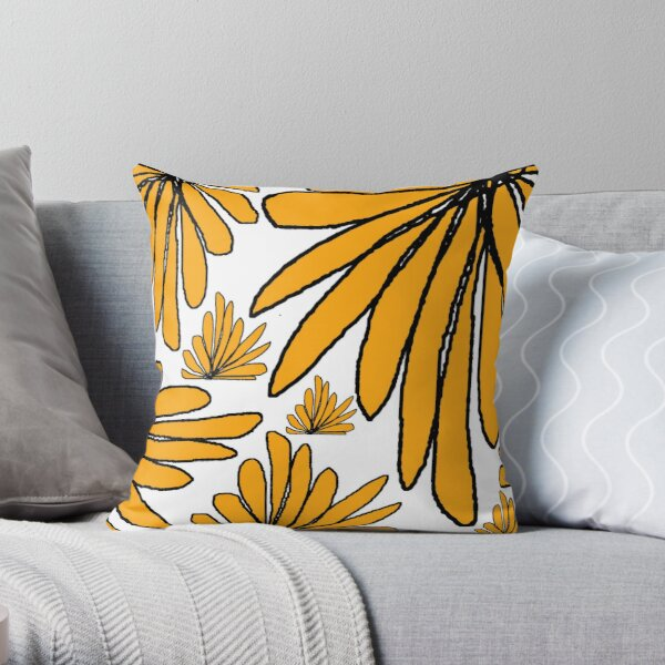 Yellow gold fern floral abstract Throw Pillow
